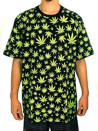 Camiseta Cannabis Preta e Verde Full Hemp Ray Brown