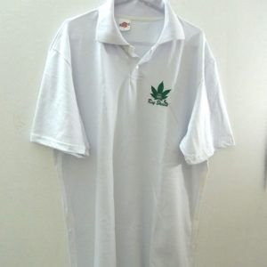 Camisa Polo Cannabis Indica Branca Ray Brown