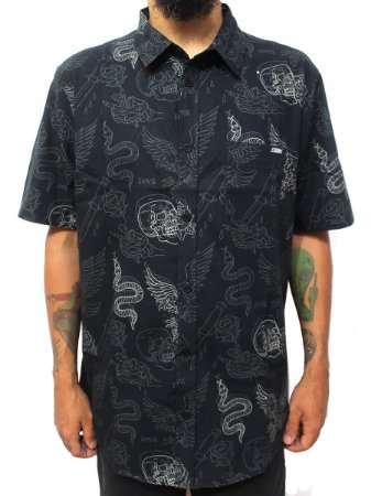 Camisa Chronic 420 Masculina Tattoo Old School Caveira Preto