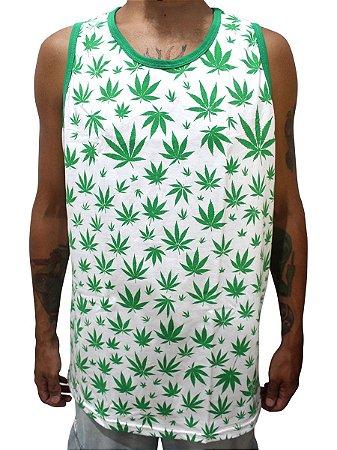 Camiseta Regata Cannabis Branca e Verde Full Hemp Ray Brown