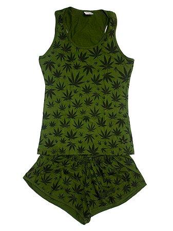 Pijama Feminino Cannabis Maconha Blusinha Regata e Short Verde