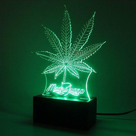 Luminária Led Acrílico Cannabis Bivolt Madre Juana Verde
