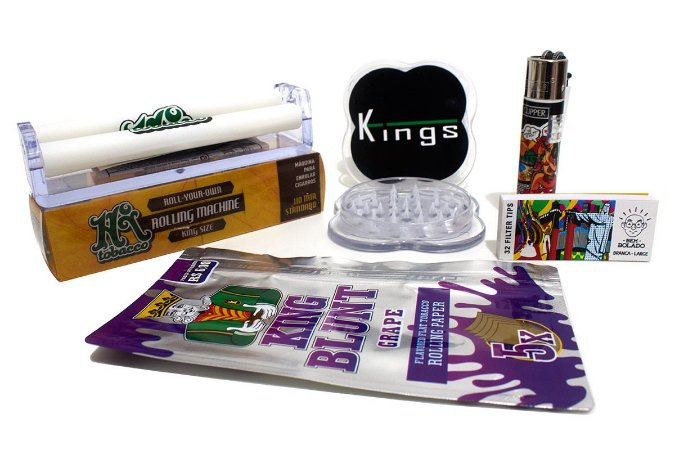 Kit King Blunt + 1 Piteira + Bolador + Dichavador Kings + Isqueiro Clipper Raw
