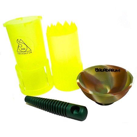 Kit Pipe de Metal Squadafum + Dichavador Pot Grinder + Cuia Silicone