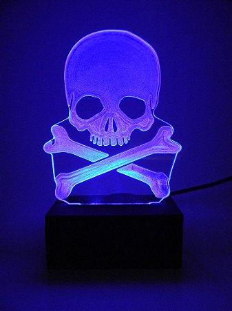 Luminária de Mesa Led Acrílico Caveira Pirata Bivolt Azul