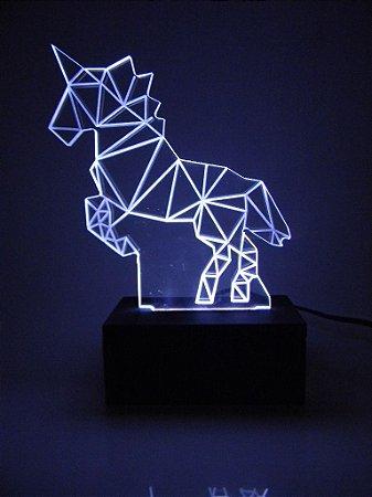 Luminária de Mesa Led Acrílico Unicórnio 3D Bivolt Branco