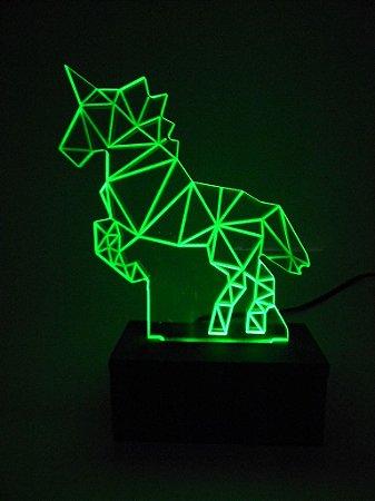 Luminária de Mesa Led Acrílico Unicórnio 3D Bivolt Verde