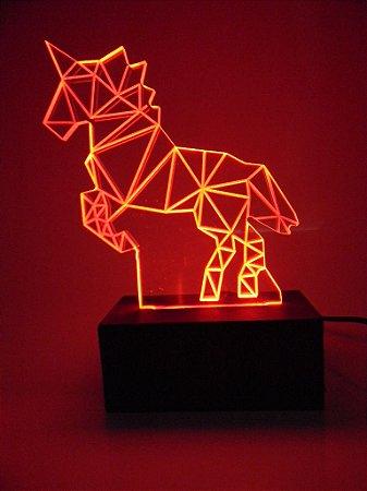Luminária de Mesa Led Acrílico Unicórnio 3D Bivolt Vermelho
