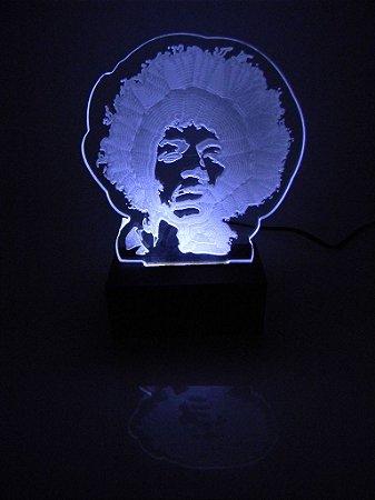 Luminária de Mesa Led Acrílico Jimmy Hendrix Bivolt Branco
