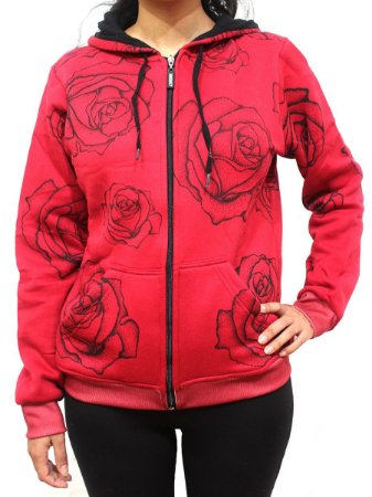 Blusa de Moletom Feminino Chronic 420 Skull Flowers Red