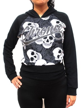 Blusa de Moletom Feminino Chronic 420 Skull Flower Preto