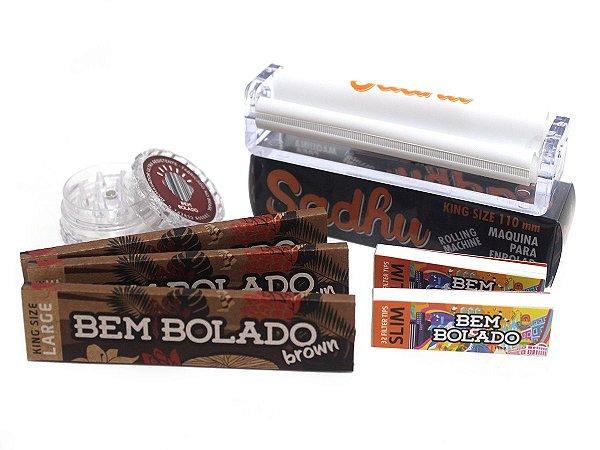 Kit 3 Sedas Bem Bolado Brown + 2 Piteiras Slim + Bolador + Dichavador