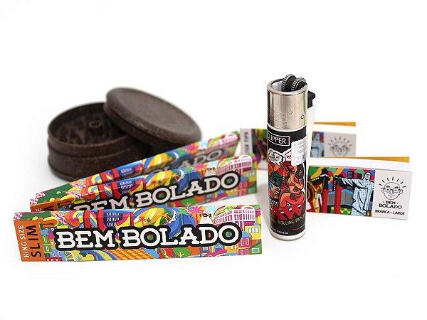 Kit 3 Sedas Bem Bolado + 2 Piteiras + Isqueiro Clipper Original + Dichavador Fibra de Cocô