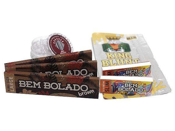 Kit 3 Sedas Bem Bolado + 2 Piteiras Slim + Seda Blunt + Dichavador 4cm