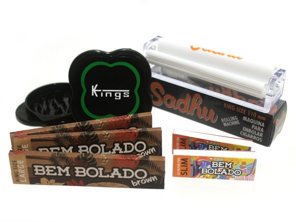 Kit 3 Sedas Bem Bolado Brown + 2 Piteiras Slim + Bolador + Dichavador Kings