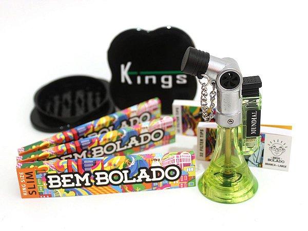 Kit 3 Sedas Bem Bolado + 2 Piteiras + Dichavador Kings Grande + Isqueiro Maçarico