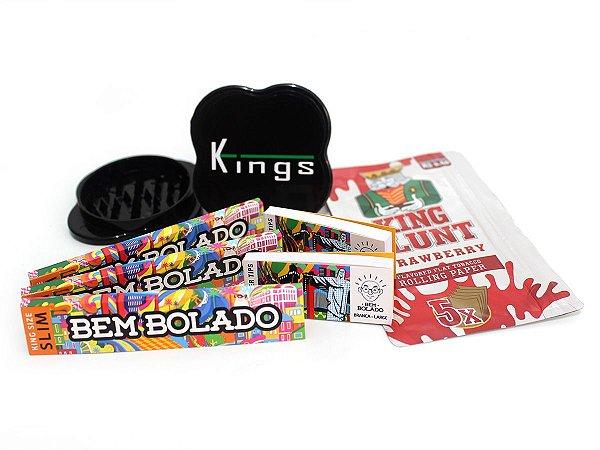 Kit 3 Sedas Bem Bolado + 2 Piteiras Large + Dichavador Kings Grande + Blunt