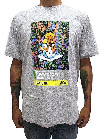 Camiseta Chronic 420 Alice País Da Brisa Rivocrew Cinza Mescla