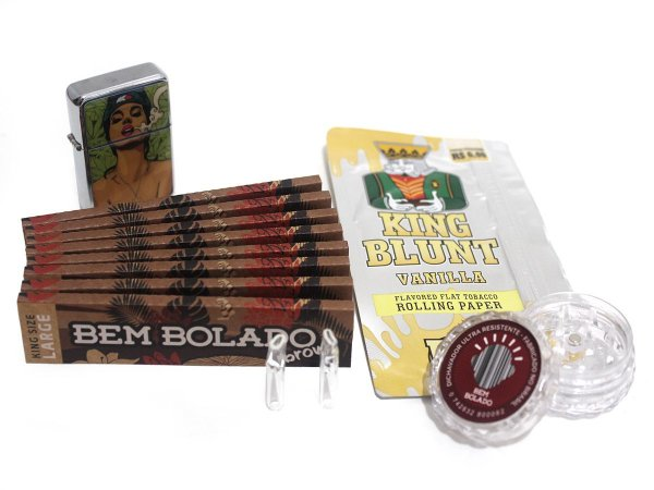 Kit 8 Sedas Bem Bolado Brown + King Blunt + 2 Piteiras Vidro + Isqueiro + Dichavador 4cm
