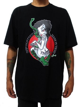 Camiseta Ganja Girls Cannabis Preta Ray Brown