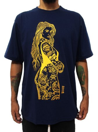 Camiseta Pinup Tattoo Old School Azul Ray Brown