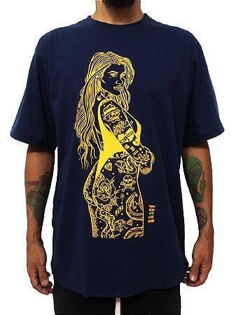 Camiseta Masculina Pinup Tattoo Ray Brown Azul