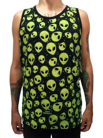 Camiseta Regata ET Brisado Alien Preto e Verde Ray Brown