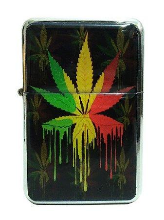 Isqueiro tipo Zippo Cannabis Reggae Recarregável Fluído