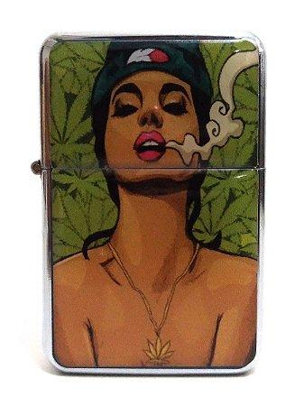 Isqueiro tipo Zippo Cannabis Girls Recarregável Fluído