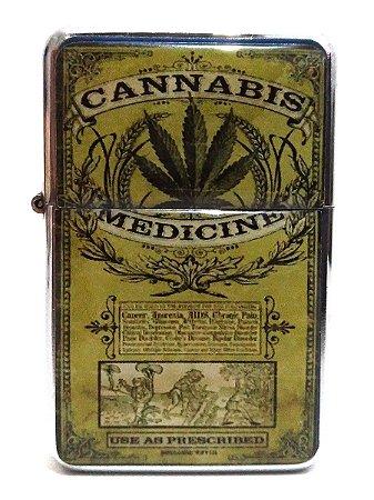 Isqueiro tipo Zippo Cannabis Medicinal Recarregável Fluído