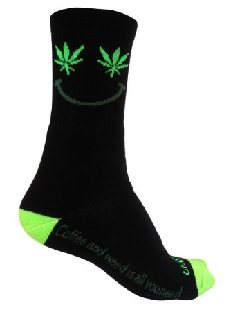 Meia Gnarly Foot Cano Alto Cannabis Smile Preto e Verde