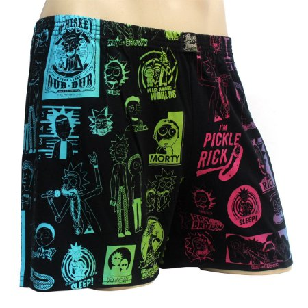 Cueca Samba Canção Rick and Morty Preto Colorida Ray Brown