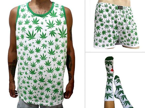 Kit Camiseta Regata Cannabis Branca + Samba Canção + Meia