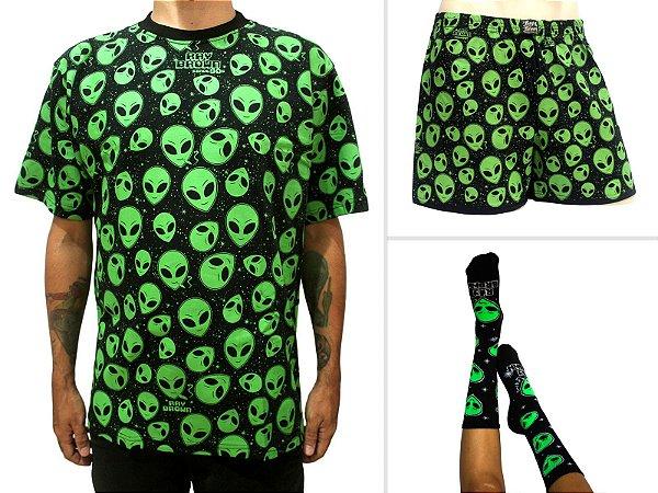 Kit Camiseta ET Brisado Preta + Samba Canção + Meia