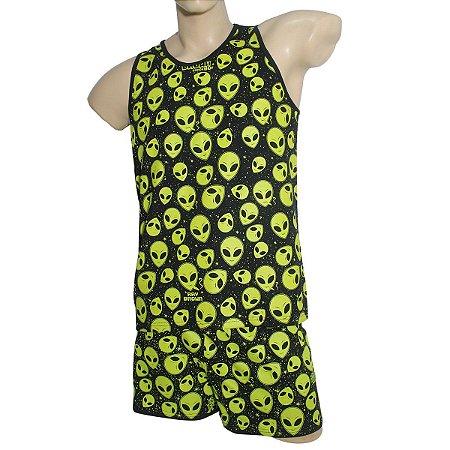 Kit Camiseta Regata ET Brisado Preta + Samba Canção