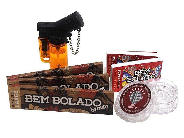 Kit 3 Sedas Bem Bolado Brown + 2 Piteiras Extra Large + Isqueiro + Dichavador