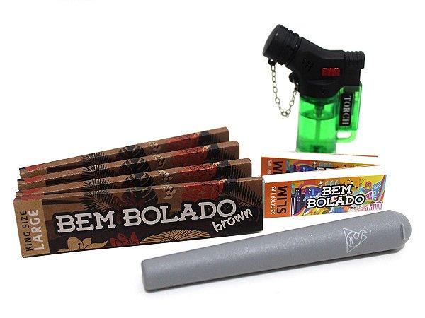 Kit 4 Sedas Bem Bolado + 2 Piteiras Slim + Mocó Squadafum + Isqueiro Maçarico