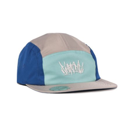 Boné Chronic 420 Five Panel Strapback Cinza e Azul Tag