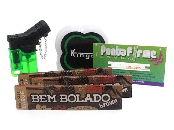 Kit 3 Sedas Bem Bolado Brown + Piteiras de Vidro Longa + Isqueiro + Dichavador Kings