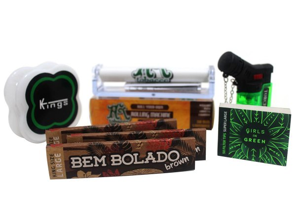 Kit 3 Sedas Bem Bolado Brown + Piteiras Girls in Green + Isqueiro + Kings + Bolador