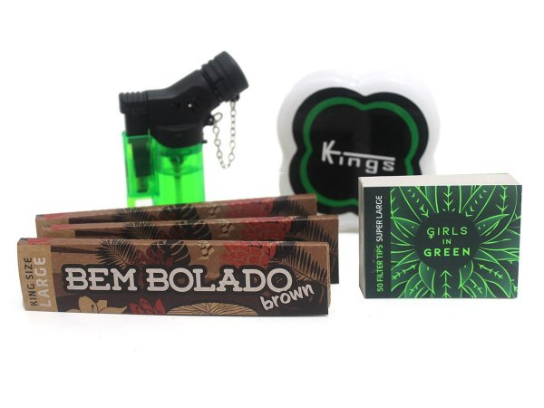 Kit 3 Sedas Bem Bolado Brown + Piteiras Girls in Green + Isqueiro + Dichavador Kings