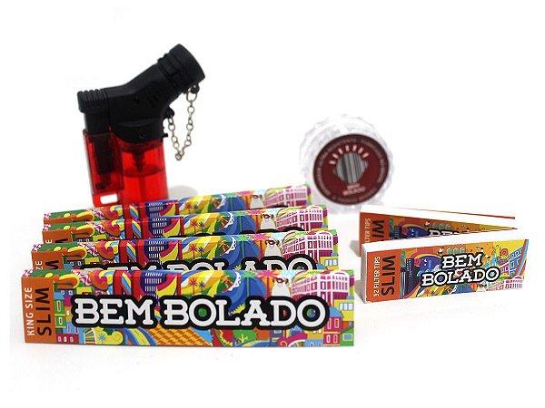 Kit 4 Sedas Bem Bolado + 2 Piteiras Slim + Dichavador + Isqueiro