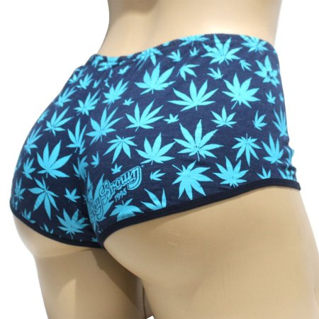 Short Feminino Cannabis Blue Haze Ray Brown Azul Marijuana