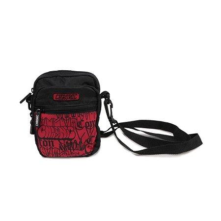 Shoulder Bag Chronic 420 Bomb Tags Preto Vermelho 3 Bolsos