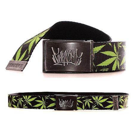 Cinto Chronic 420 Cannabis Maconha Fivela Lona Skate Preto