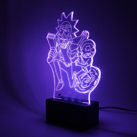 Luminária Mesa Led Acrílico Rick and Morty RGB 16 Cores 18cm