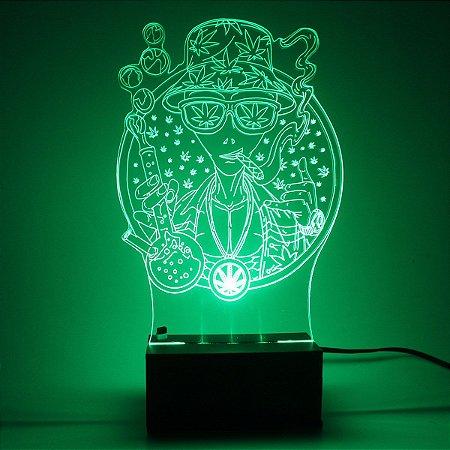 Luminária Mesa Led Acrílico ET Brisado RGB 16 Cores 18cm