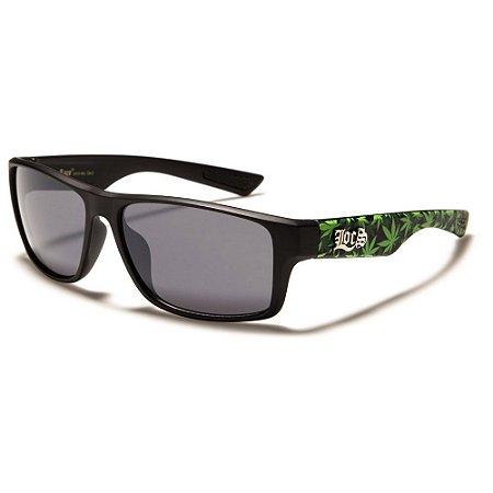 Óculos Sol Masculino Locs Rubber Grip Cannabis Preto Polarizado UV400