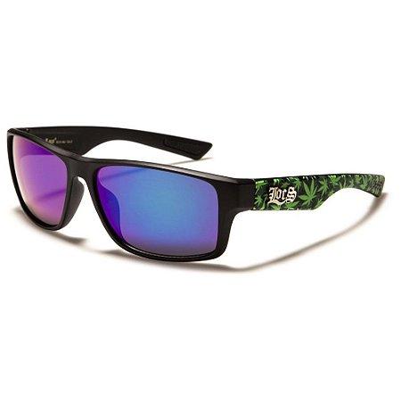 Óculos Sol Masculino Locs Rubber Grip Cannabis Preto Espelhado UV400