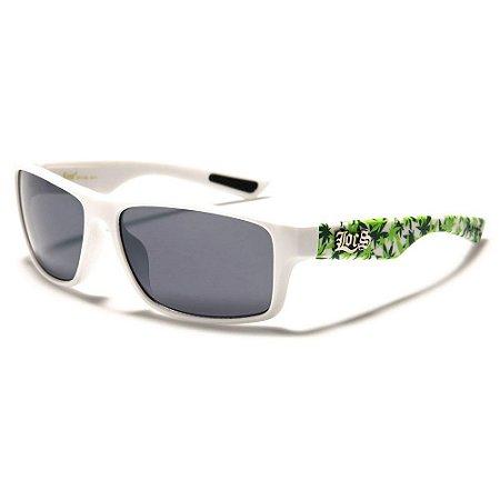 Óculos Sol Masculino Locs Rubber Grip Cannabis Branco Polarizado UV400